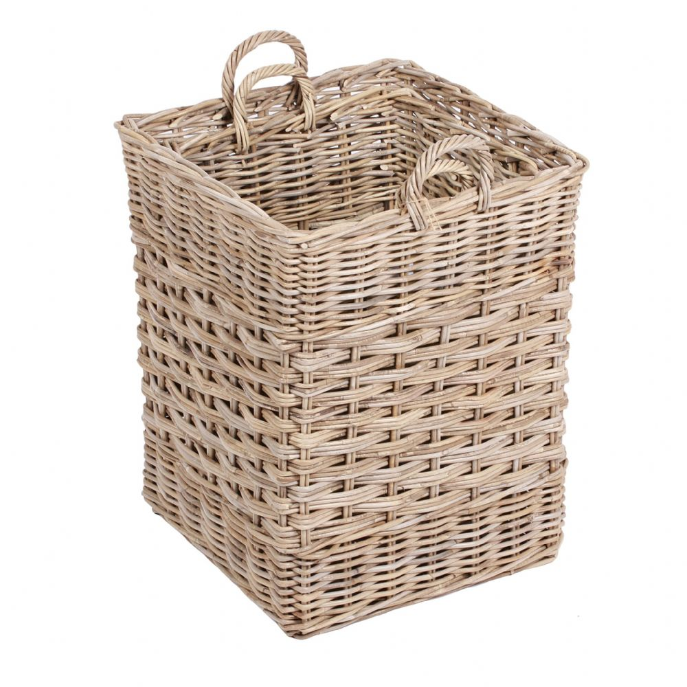Set of 2 Square Baskets with Ear Handles in Kooboo Grey